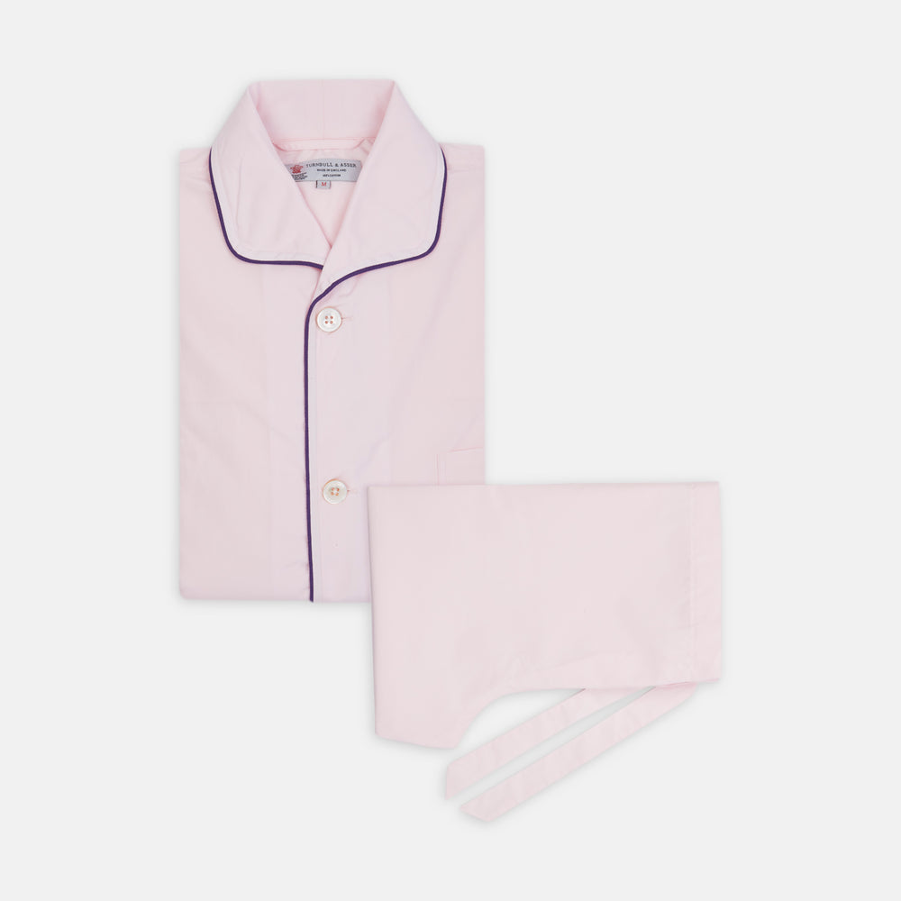 Pink Piped Cotton Pyjama Set