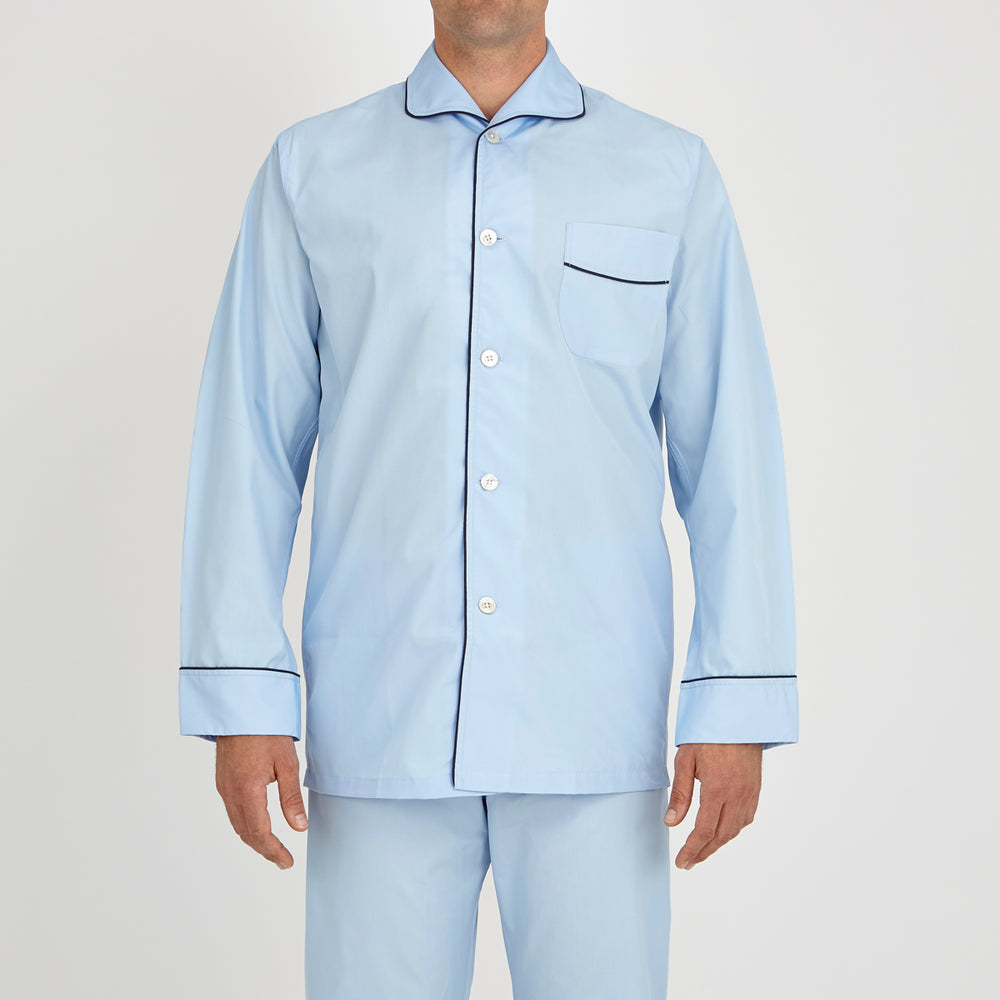 Light Blue Piped Cotton Pyjama Set