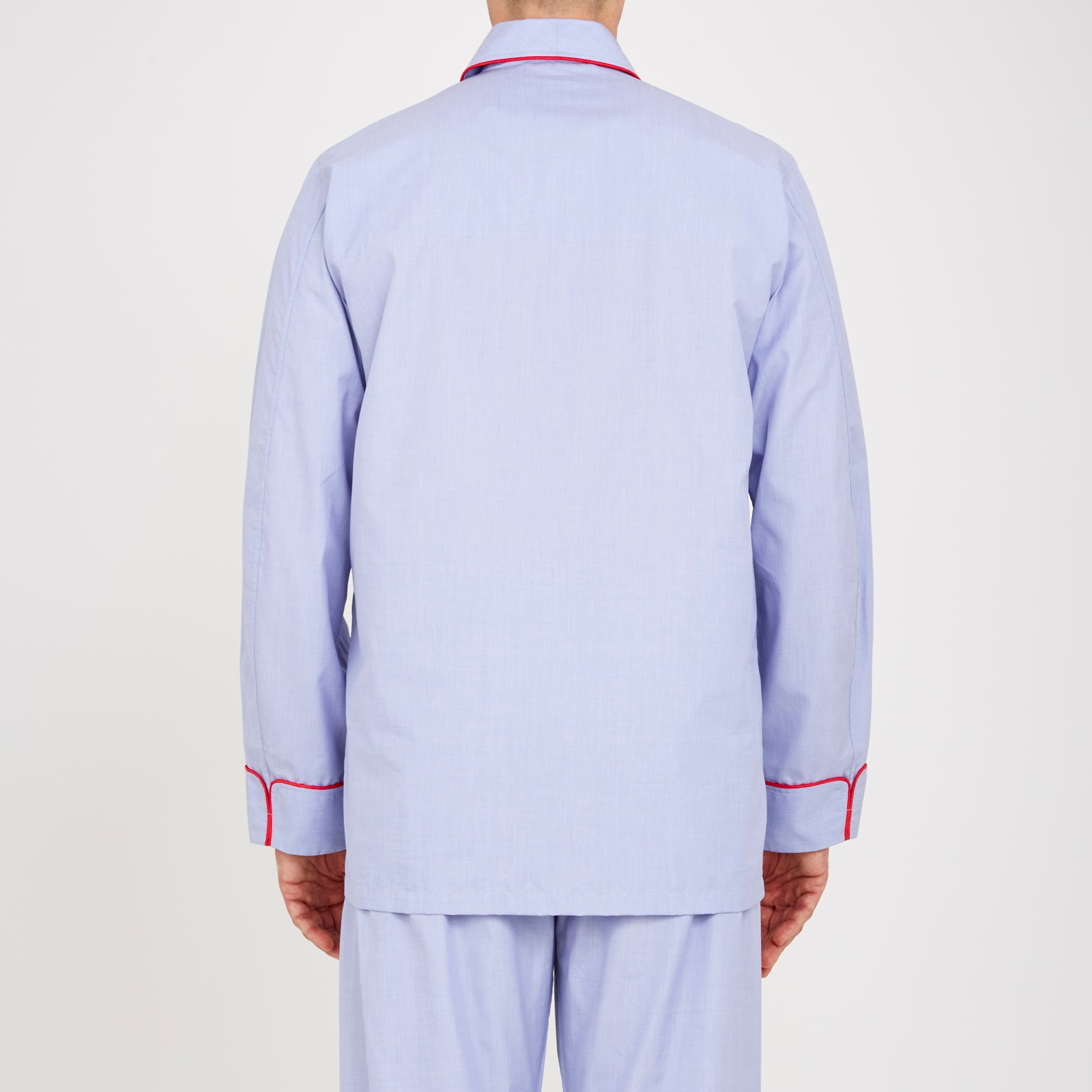 Blue Piped End-on-End Cotton Pyjama Set