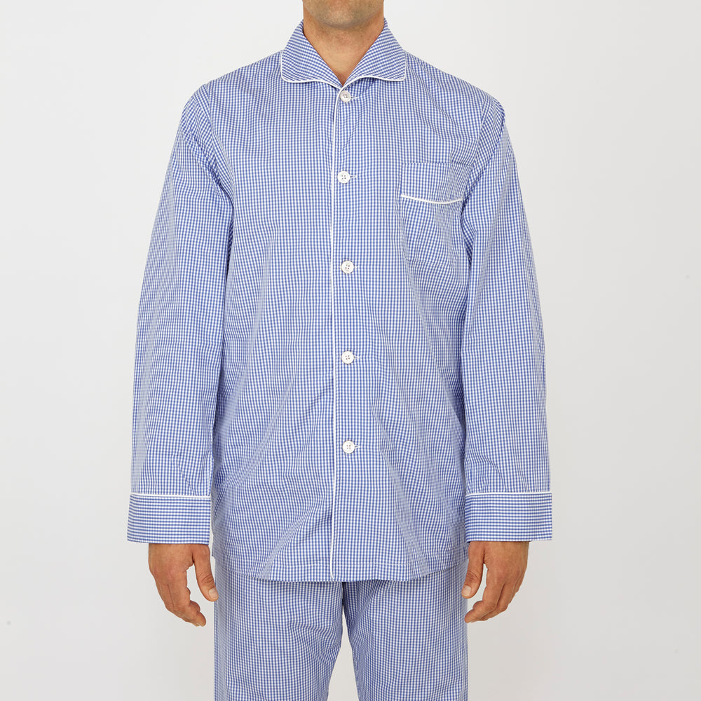 Mid Blue Gingham Check Piped Cotton Pyjama Set