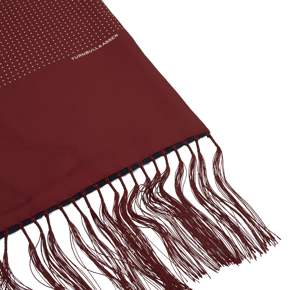 Burgundy Mini Polka Dot Cashmere Backed Silk Scarf