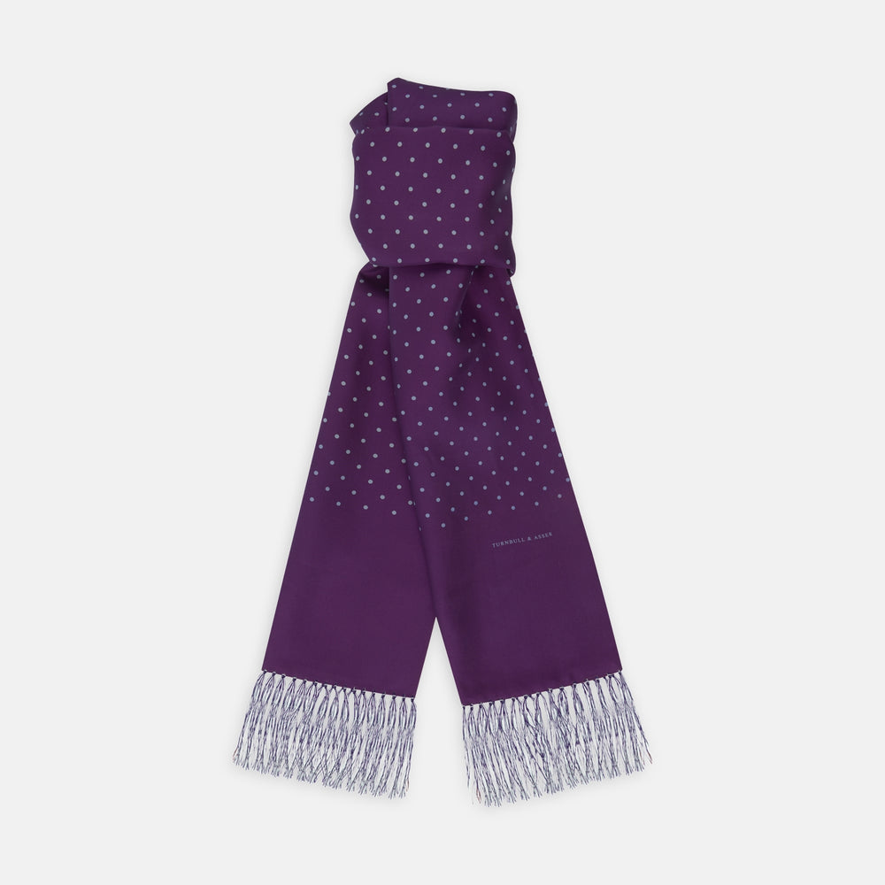 Purple and White Spotted Silk Scarf