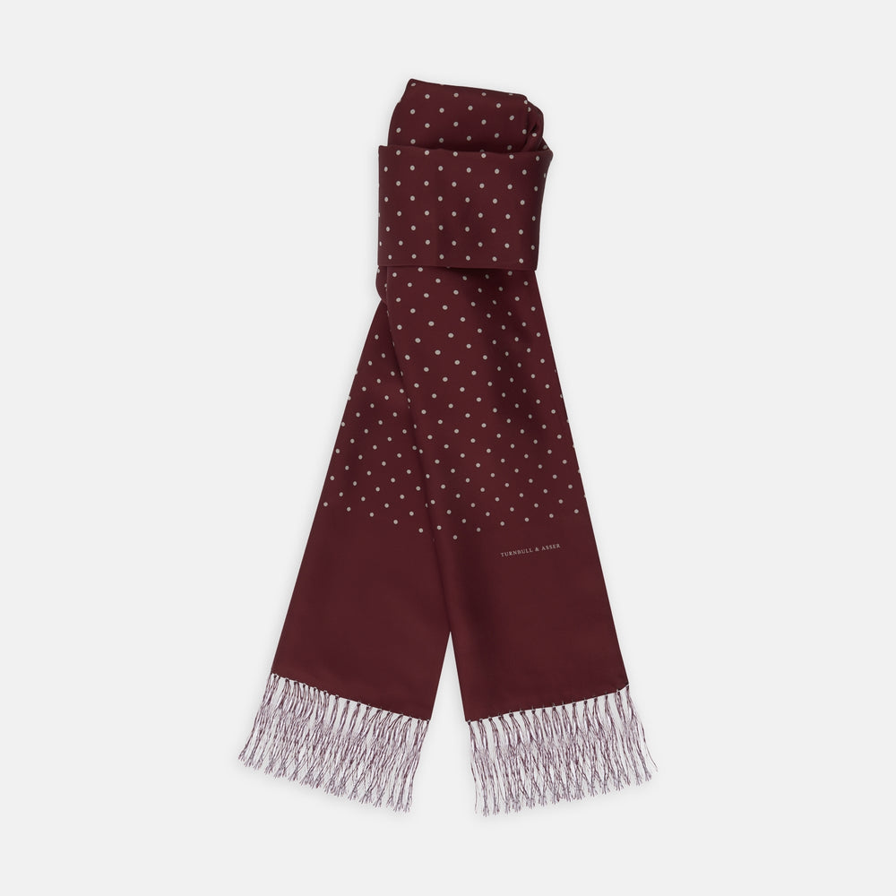 Wine Spotted Silk Scarf