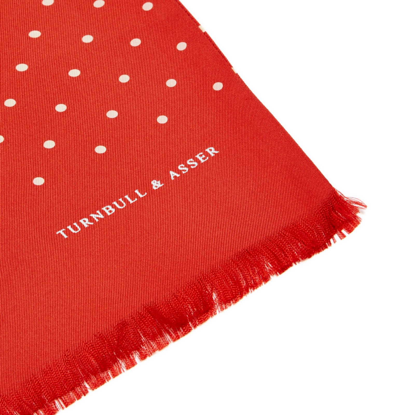 Red and White Spotted Silk Scarf