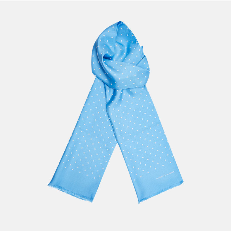 Azure and White Spotted Silk Scarf