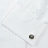 White Pleated Cotton Dress Shirt with T&A Collar and Double Cuffs