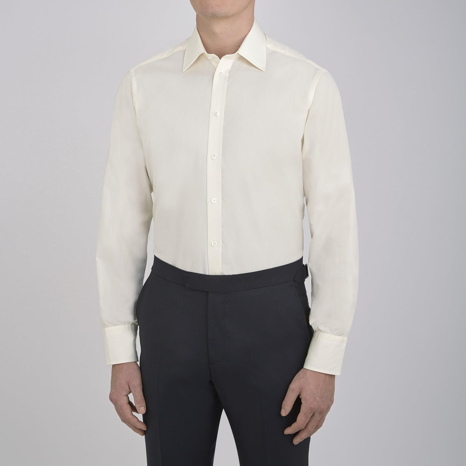 Cream Cotton Shirt with T&A Collar and 3-Button Cuffs