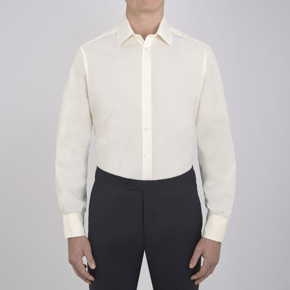 Cream Cotton Shirt with T&A Collar and Double Cuffs
