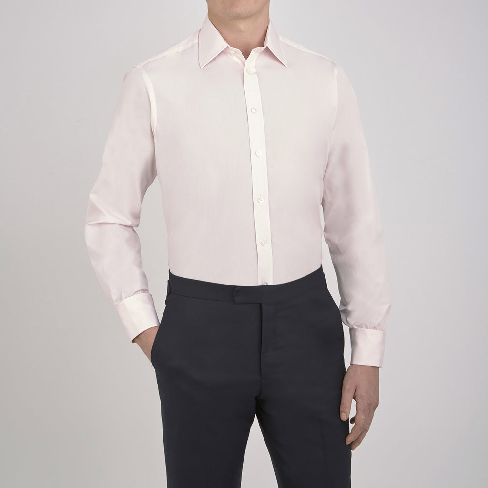 Pink Cotton Shirt with T&A Collar and Double Cuffs