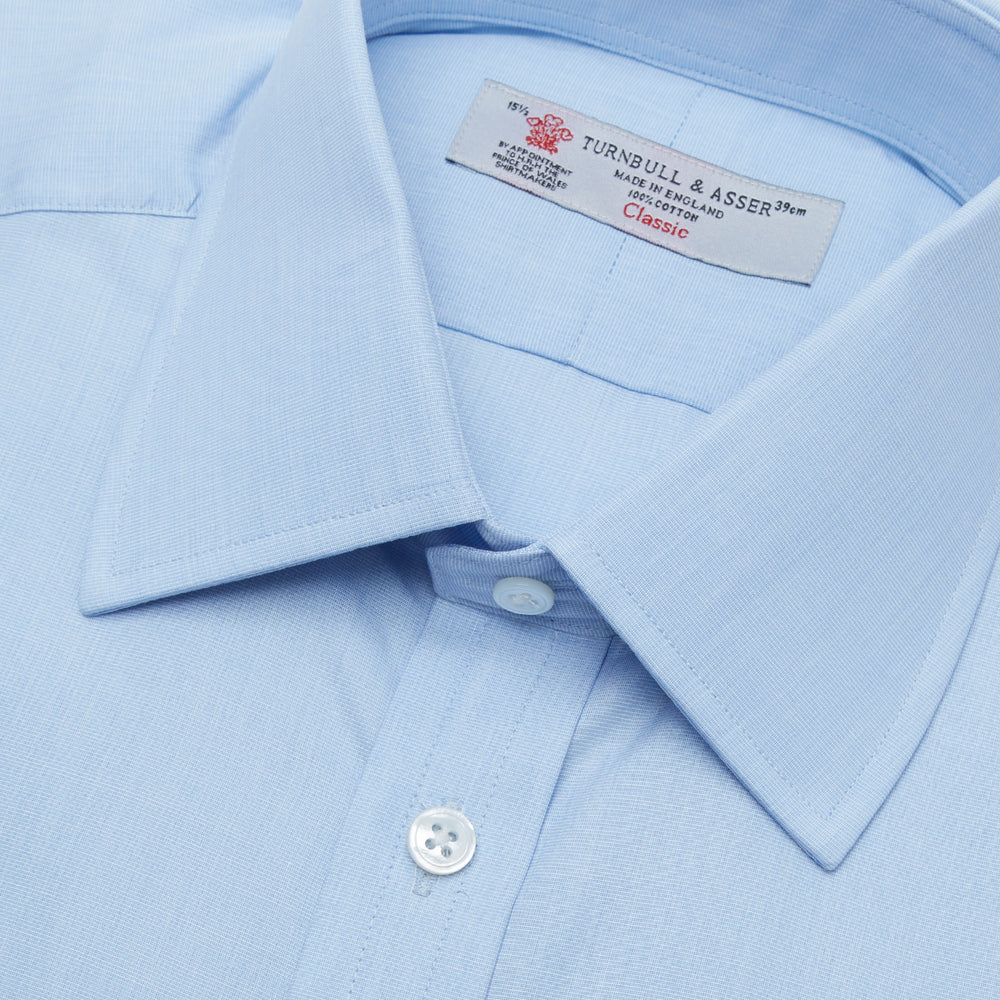 Light Blue End-on-End Shirt with T&A Collar and Double Cuffs