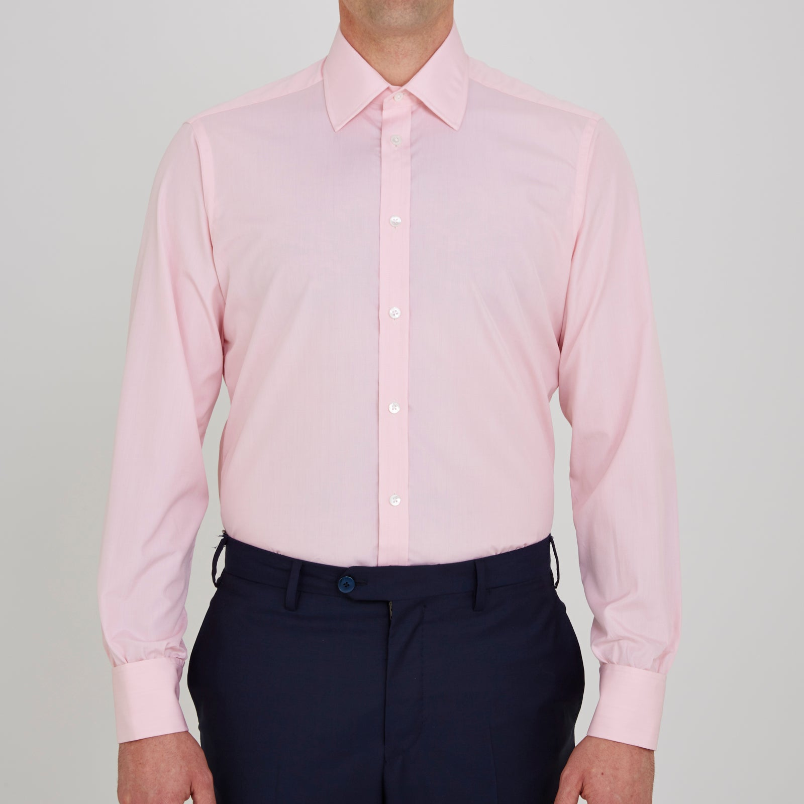 Pink End-on-End Shirt with T&A Collar and Double Cuffs