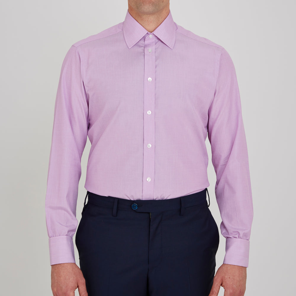 Lilac End-on-End Shirt with T&A Collar and Double Cuffs