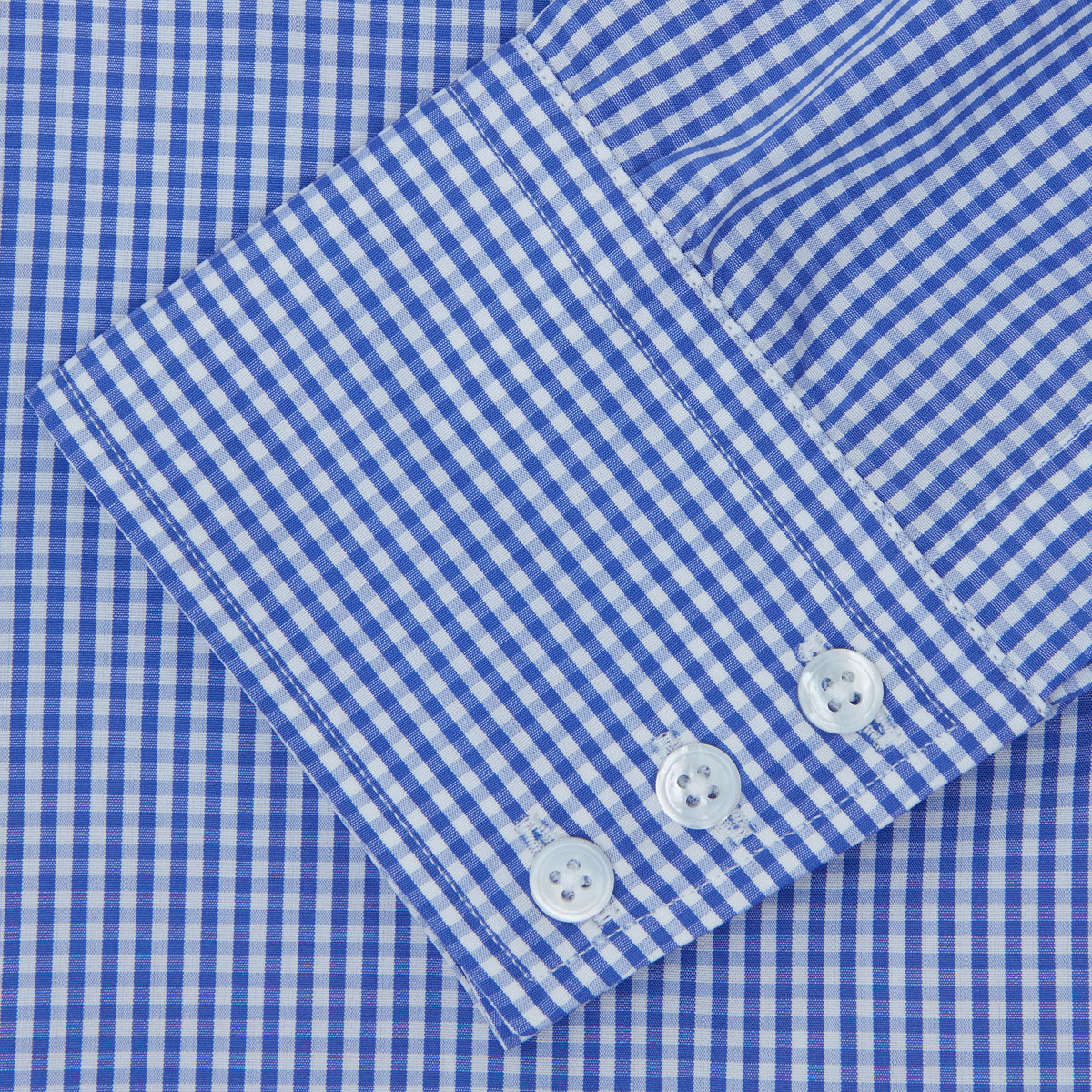 Mid-Blue Gingham Check Shirt with T&A Collar and 3-Button Cuffs