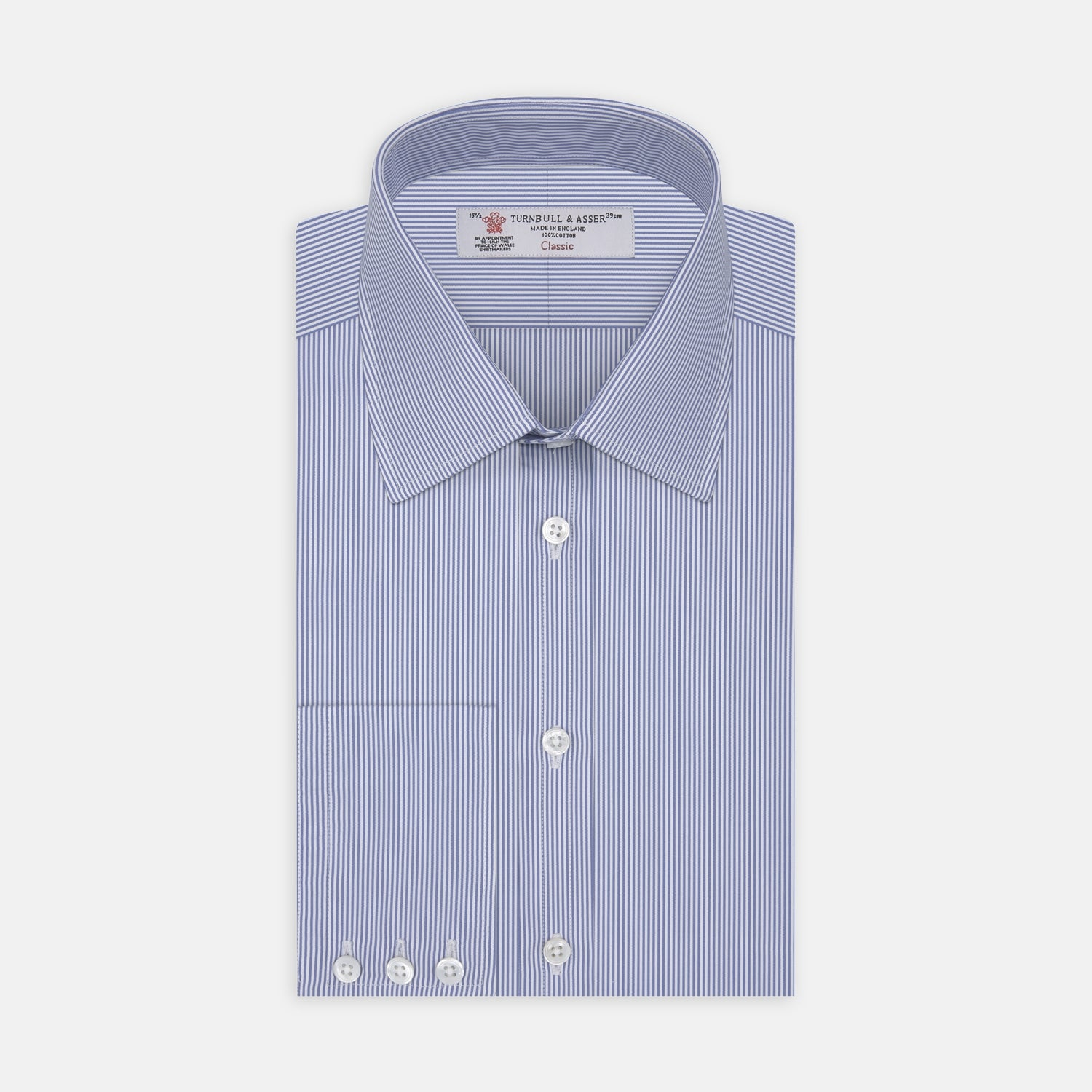 Blue Fine Bengal Stripe Shirt with T&A Collar and 3-Button Cuffs