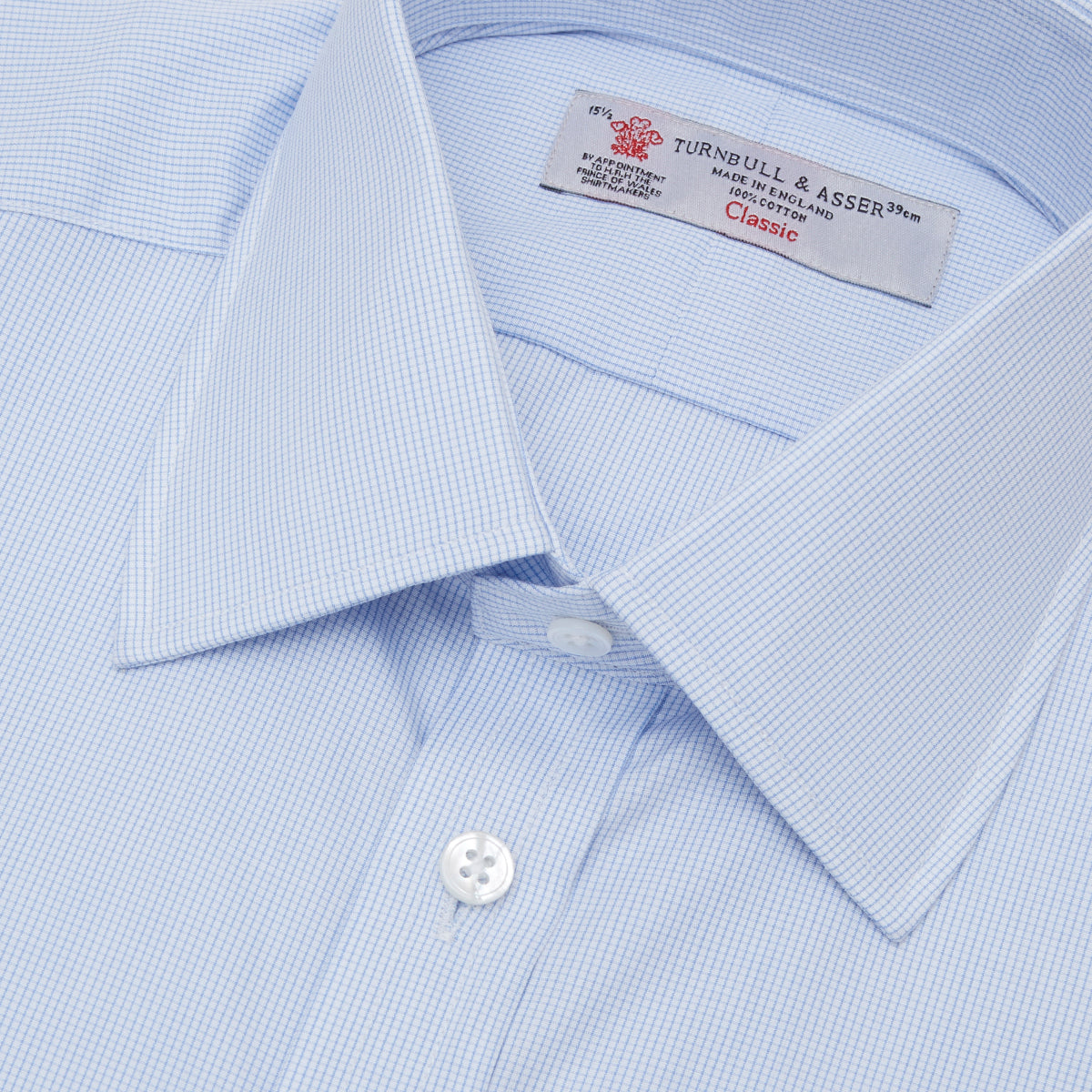 Light Blue Fine Check Shirt with T&A Collar and 3-Button Cuffs