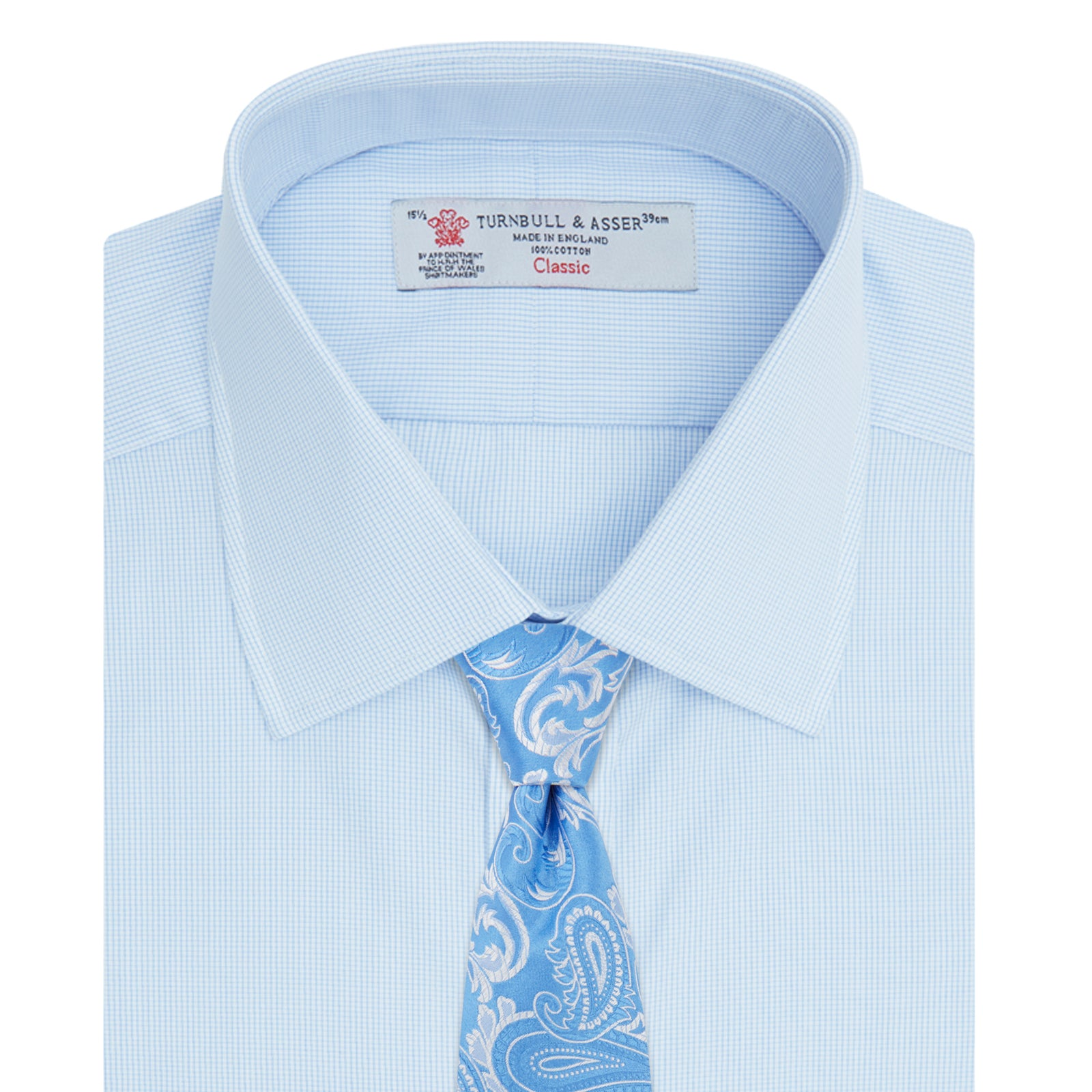 Light Blue Fine Check Shirt with T&A Collar and Double Cuffs