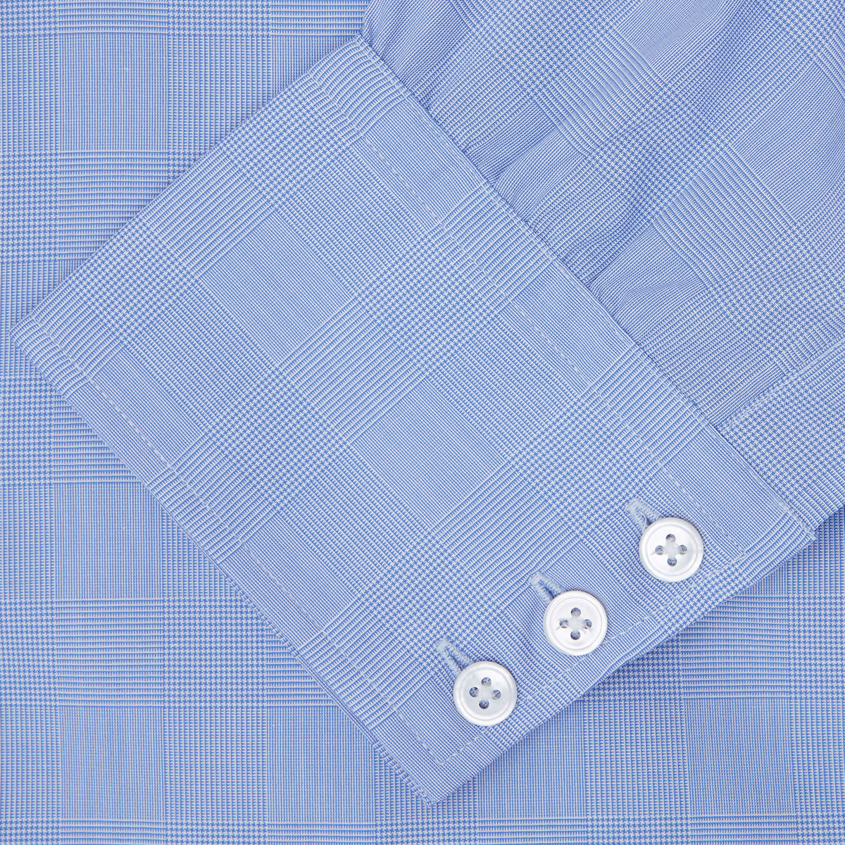 Blue Prince of Wales Check Shirt with T&A Collar and 3-Button Cuffs
