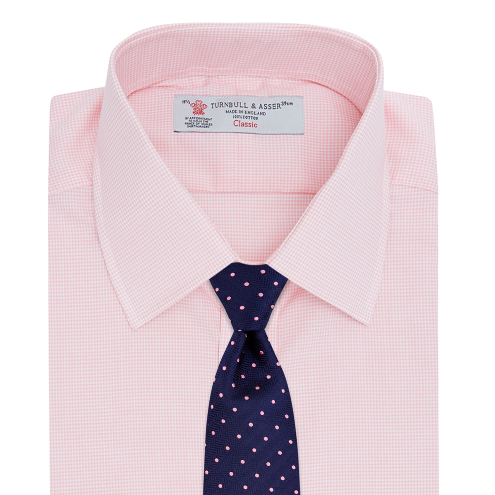 Pink Micro-Check Cotton Shirt with T&A Collar and 3-Button Cuffs