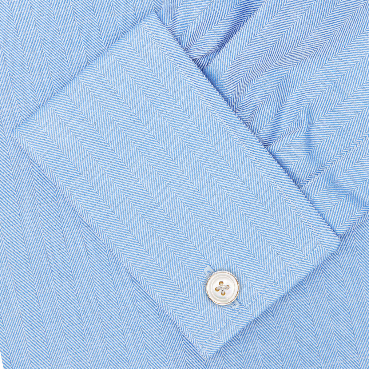 Blue Herringbone Superfine Cotton Shirt with T&A Collar and Double Cuffs