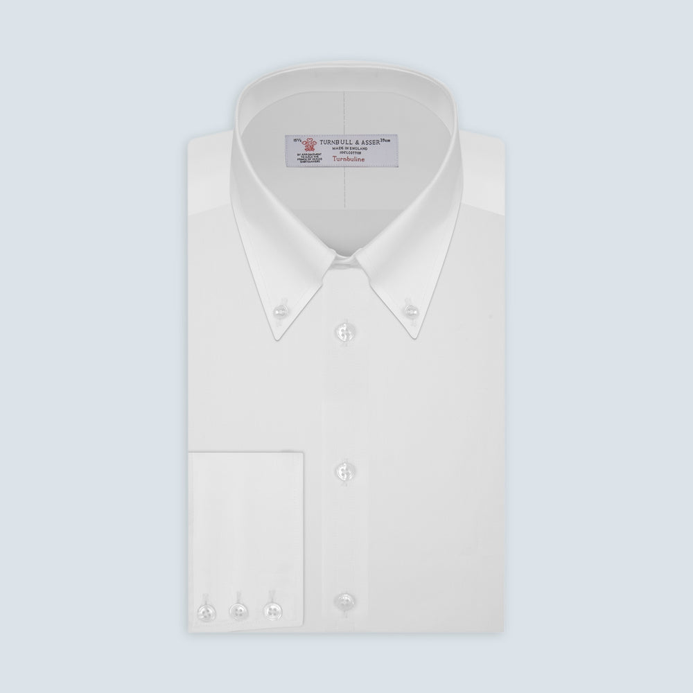 White Royal Oxford Cotton Shirt with Button-Down Collar and 3-Button Cuffs