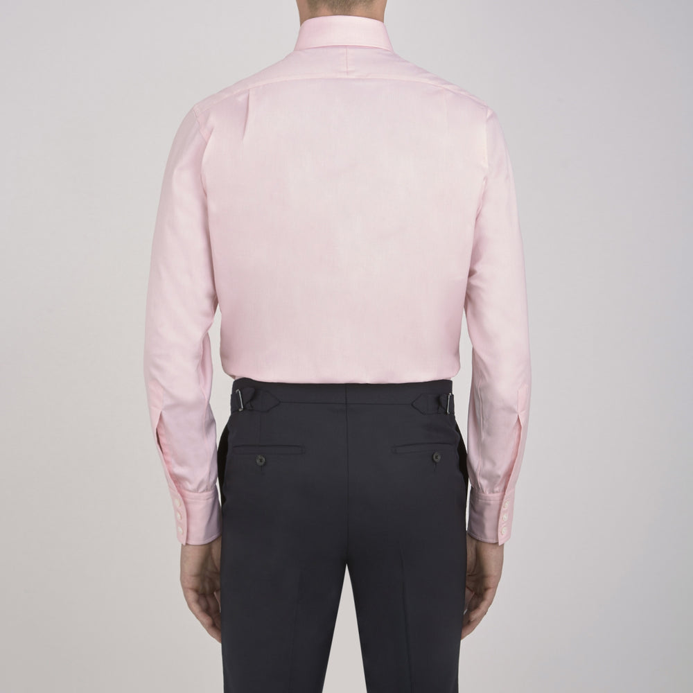 Pink Royal Oxford Cotton Shirt with Button-Down Collar and 3-Button Cuffs