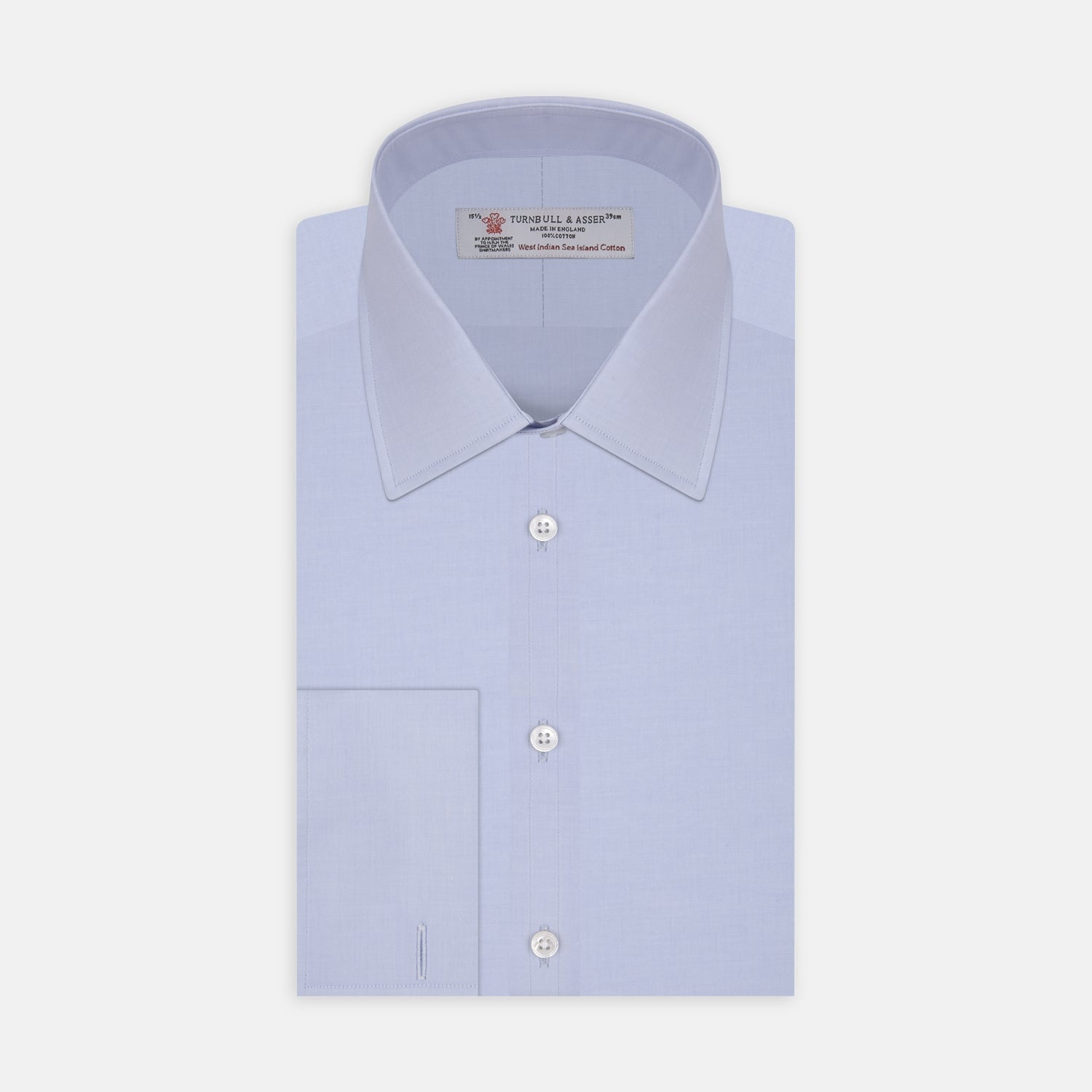 Blue West Indian Sea Island Cotton Shirt with T&A Collar and Double Cuffs