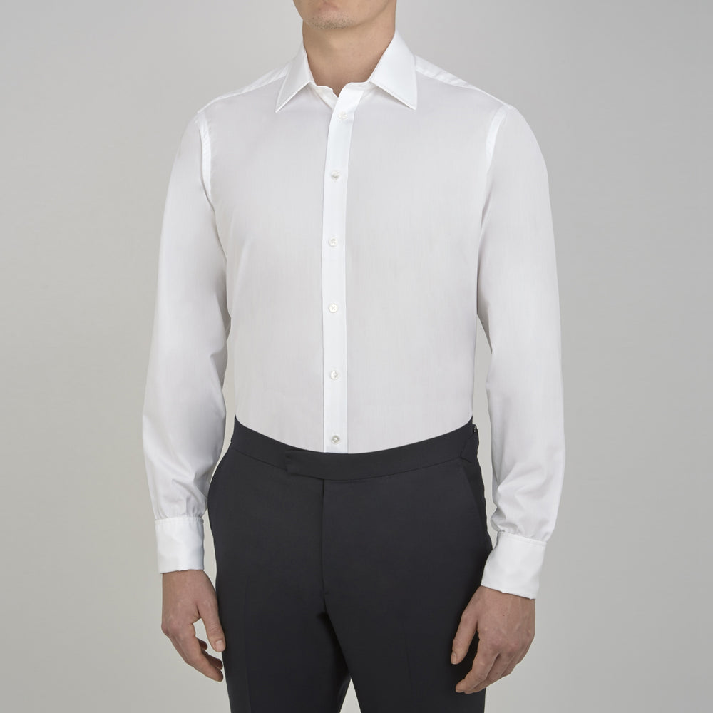 White West Indian Sea Island Cotton Shirt with T&A Collar and Double Cuffs