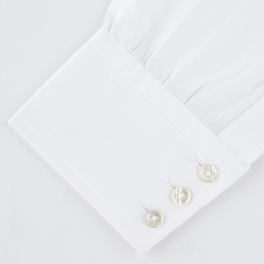 White Self-On-Self Herringbone Sea Island Quality Cotton Shirt with T&A Collar and 3-Button Cuffs