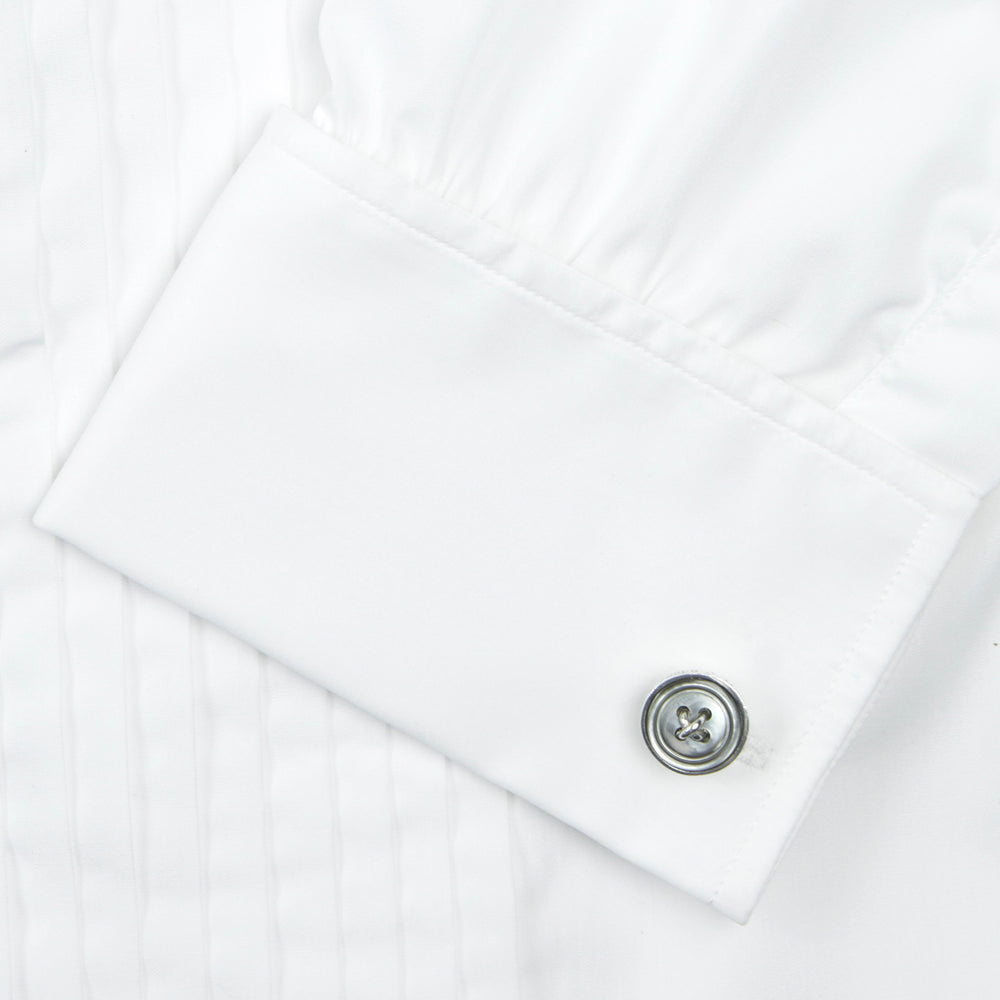 White Sea Island Quality Cotton Dress Shirt with T&A Collar and Double Cuffs