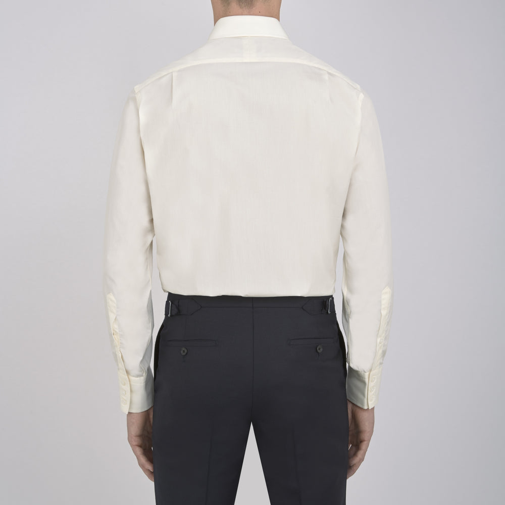 Cream Sea Island Quality Cotton Shirt with T&A Collar and 3-Button Cuffs