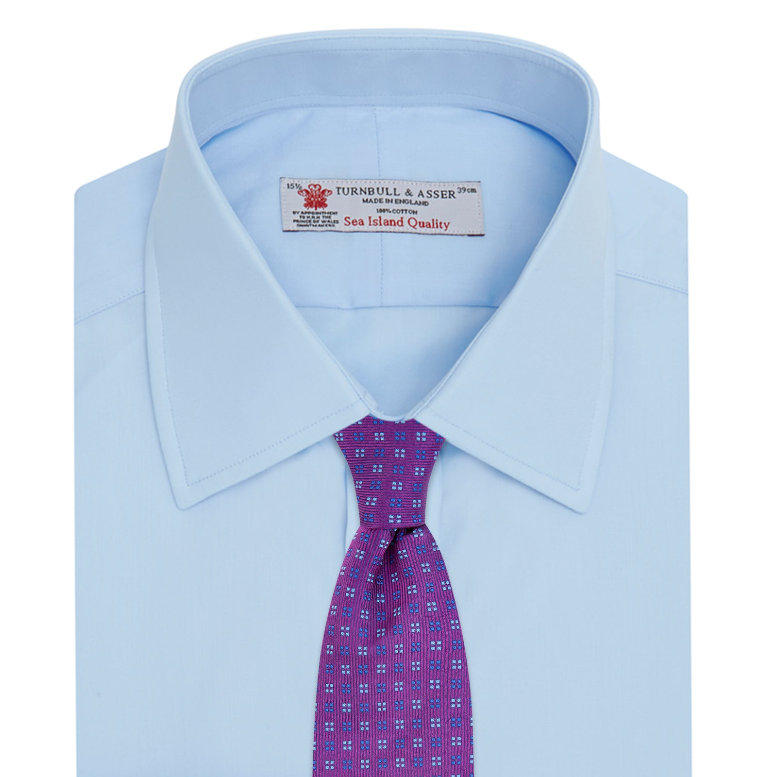 Light Blue Sea Island Quality Cotton Shirt with T&A Collar and Double Cuffs