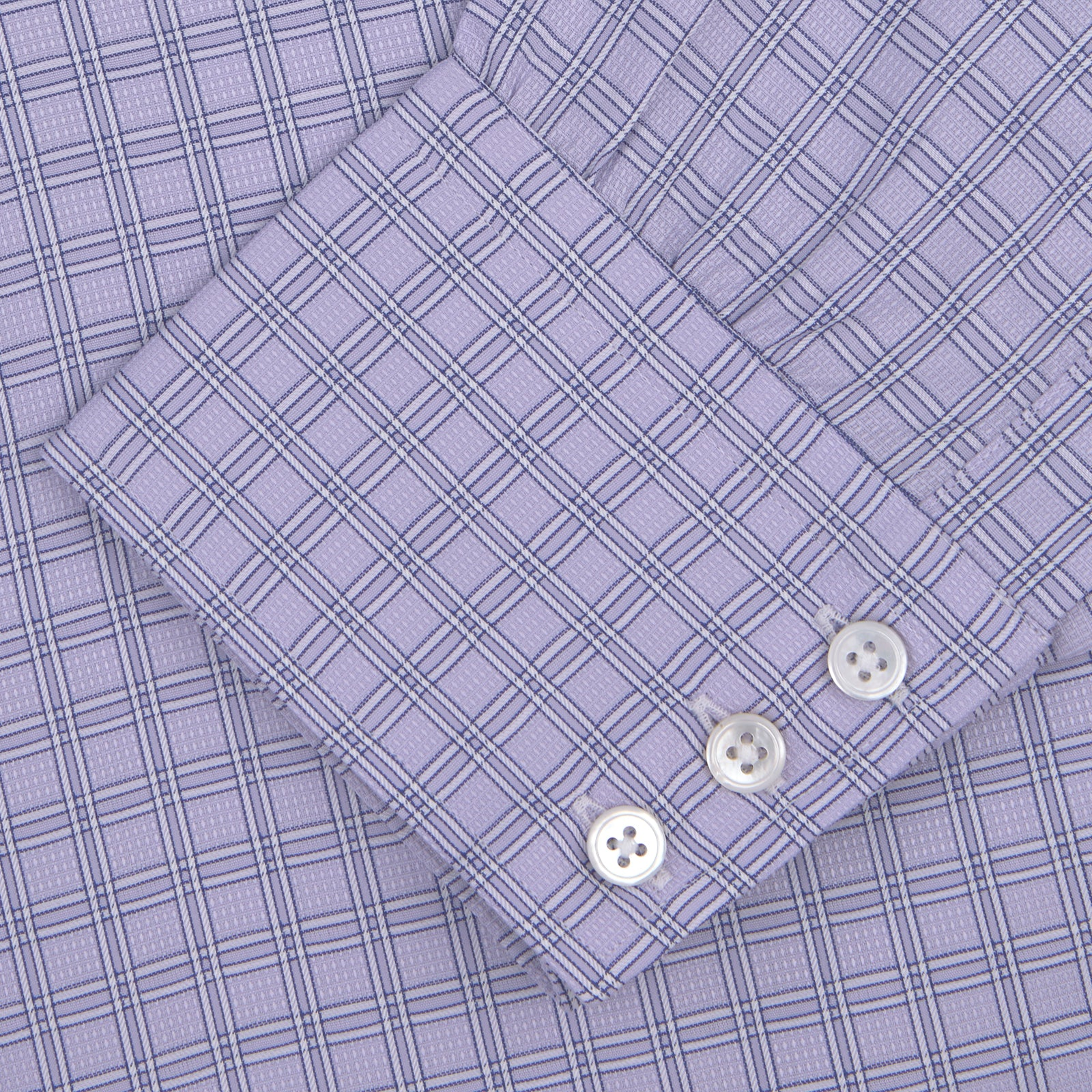 Lilac and White Check Shirt with T&A Collar and Button Cuffs