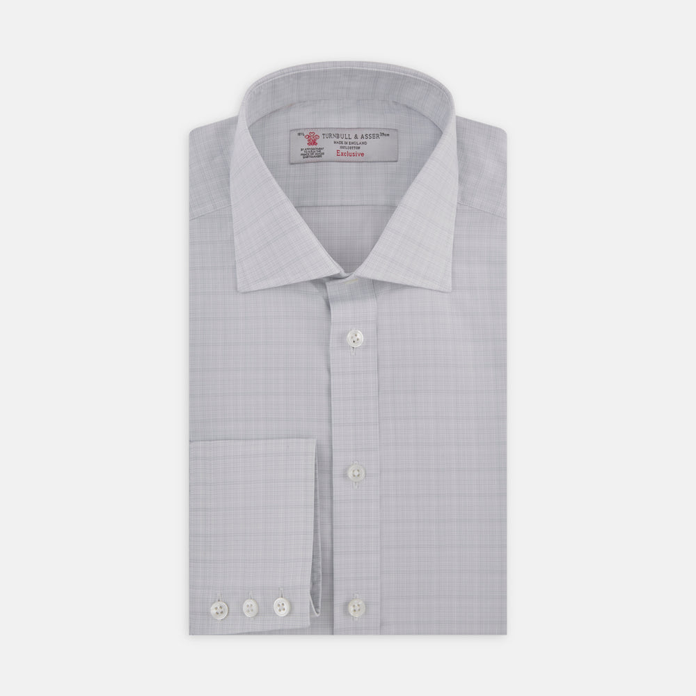 Grey Micro Multi Check Shirt with Regent Collar and Button Cuffs