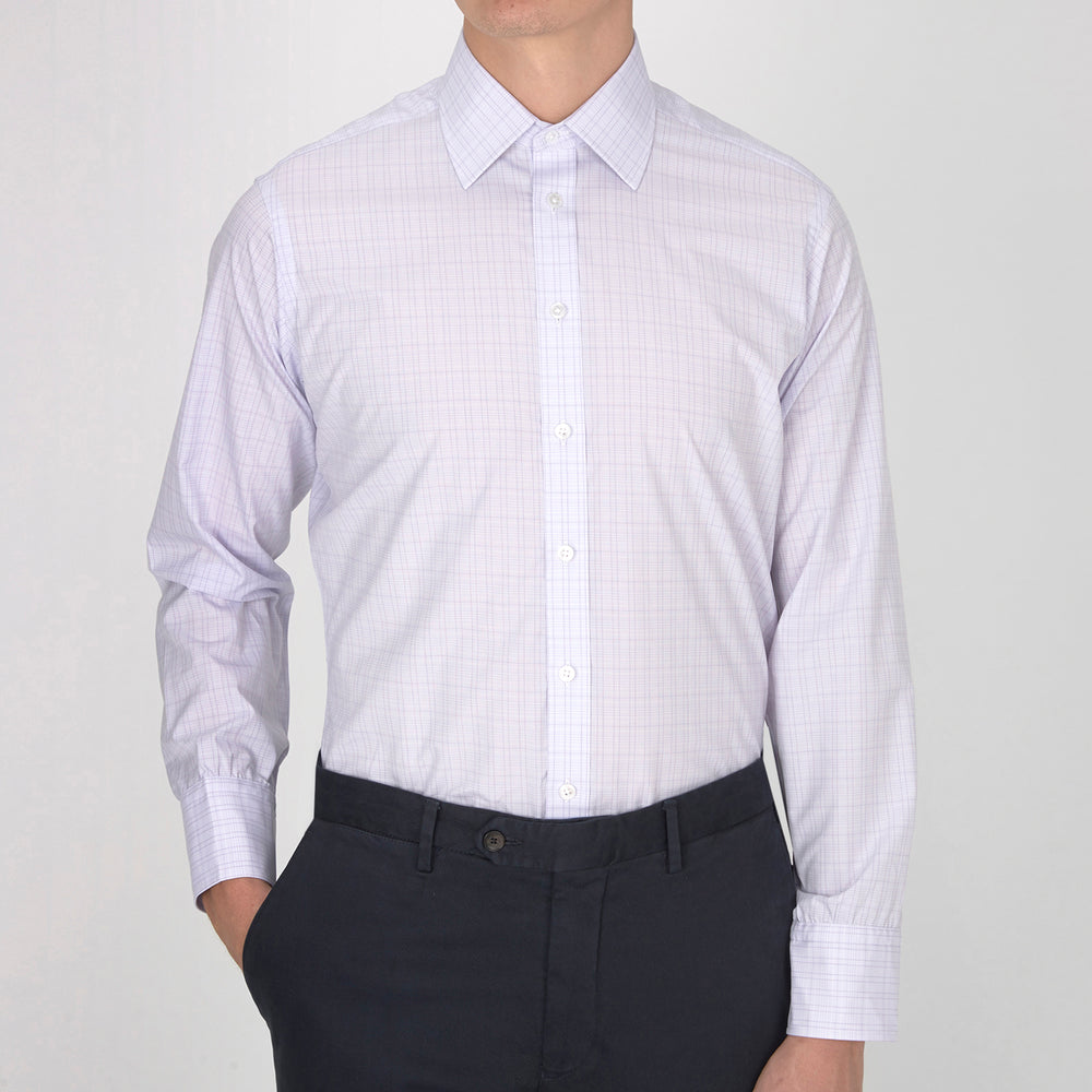 Lilac Micro Rectangle Check Shirt with T&A Collar and Button Cuffs