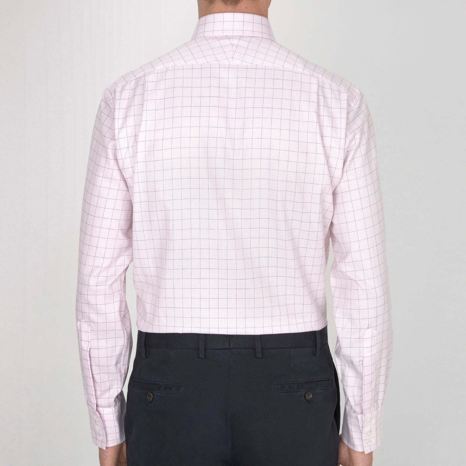 Pink and Purple Grid Check Shirt with T&A Collar and Button Cuffs