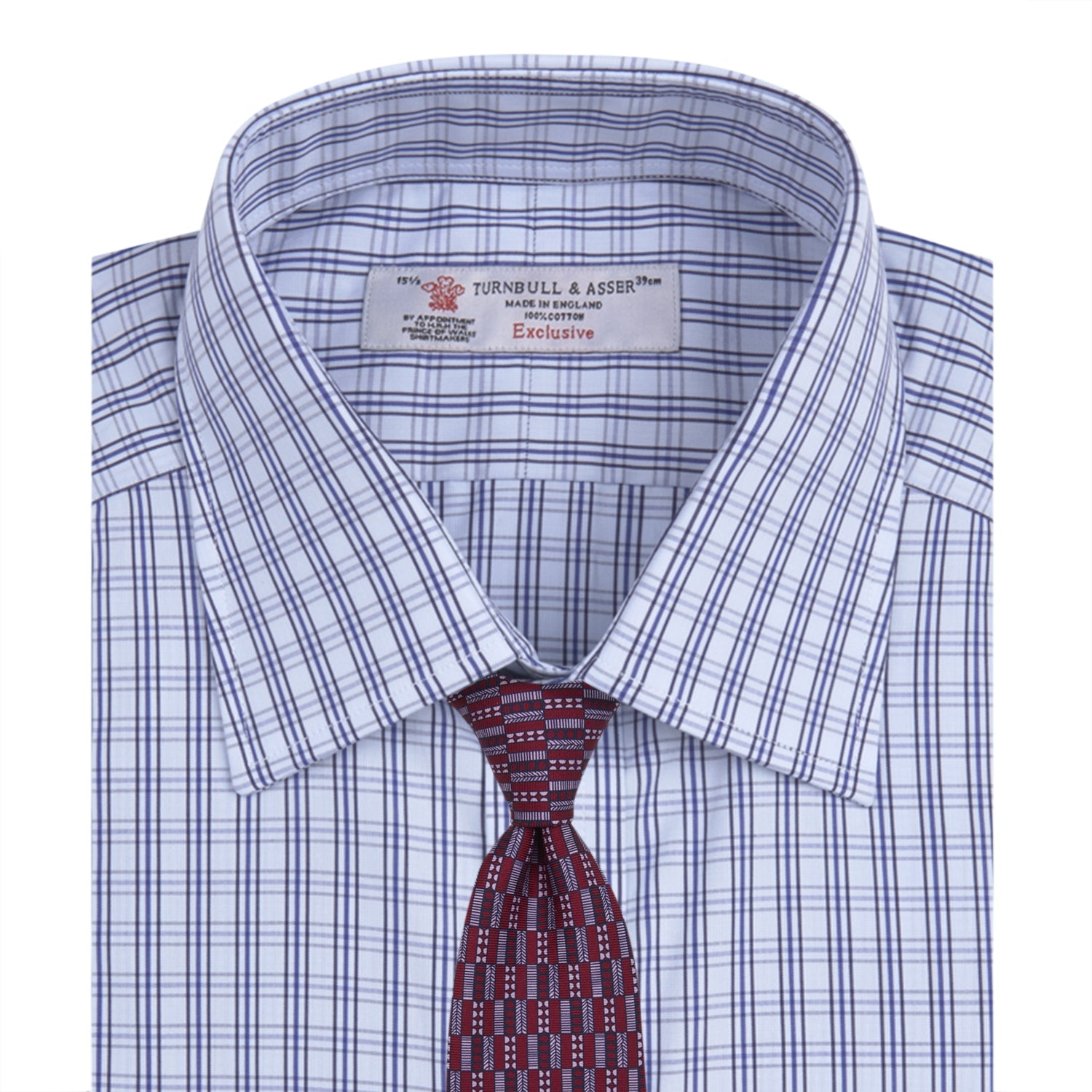 Dark Grey and Navy Triple Check Shirt with T&A Collar and Button Cuffs