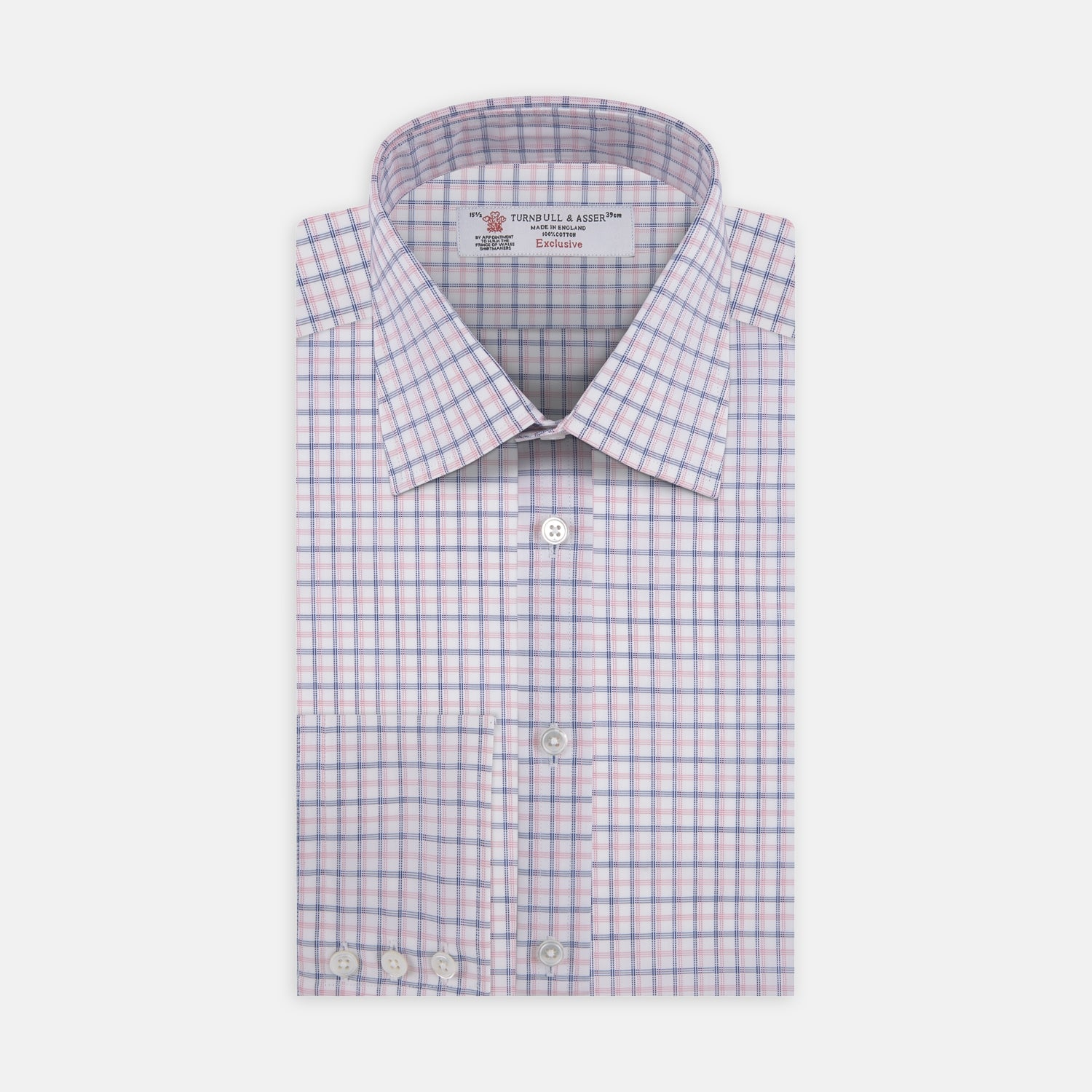 Pink and White Shadow Check Shirt with Classic T&A Collar and Button Cuffs