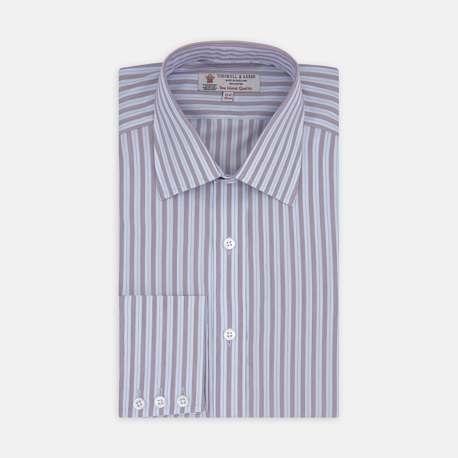 Red and Blue Fine Multi Stripe Sea Island Quality Cotton Shirt with Classic T&A Collar and Button Cuffs