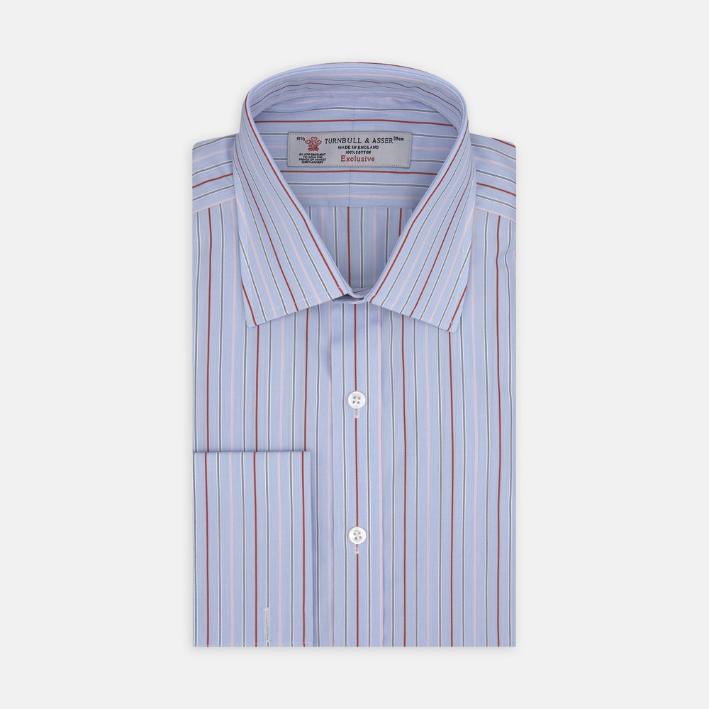 Red and Blue Stripe Sea Island Quality Cotton Shirt with T&A Collar and Double Cuffs