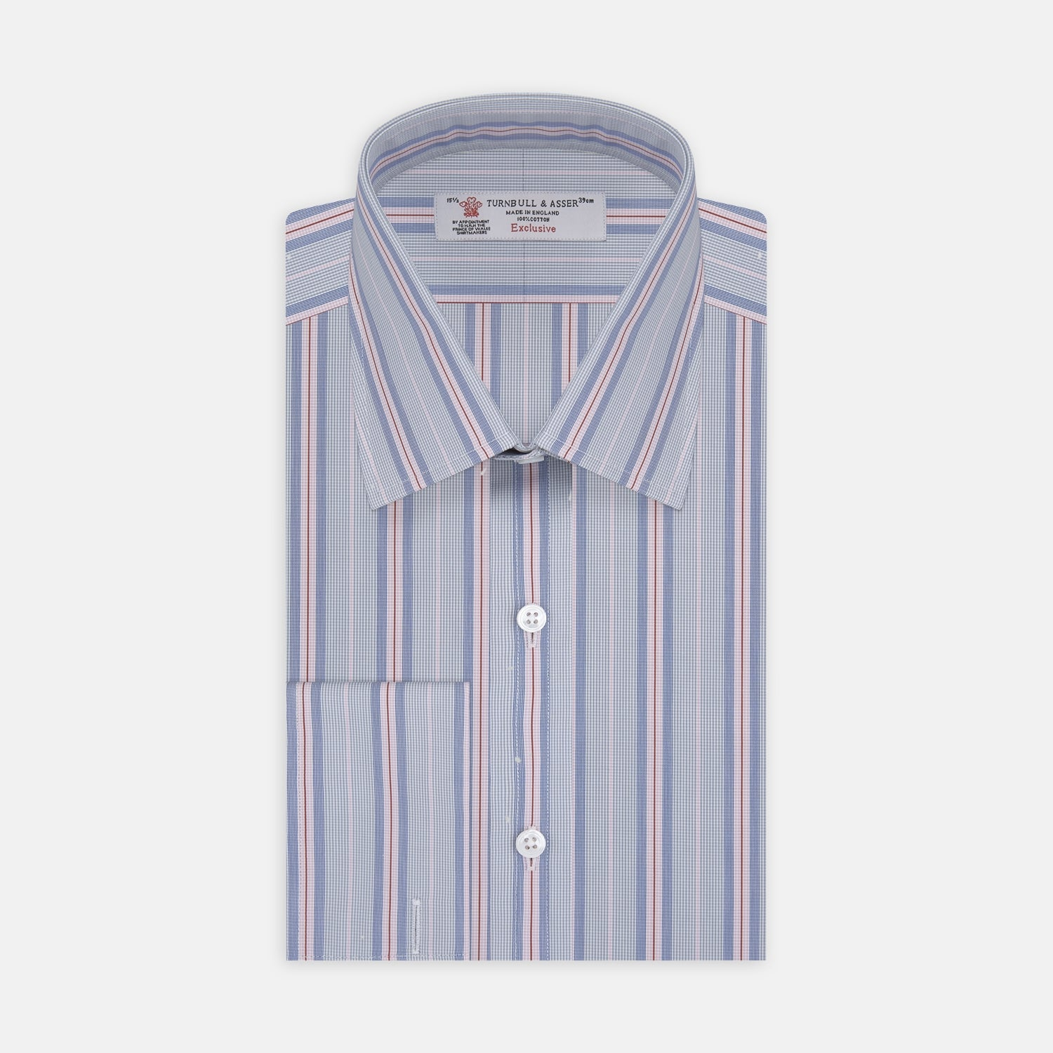 Grey, Pink and Navy Mixed Stripe Shirt with T&A Collar and Double Cuffs
