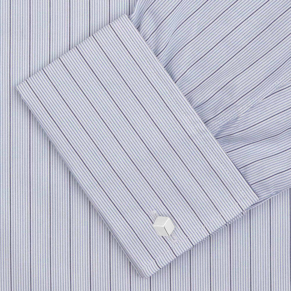 Blue Grouped Stripe Shirt with T&A Collar and Double Cuffs