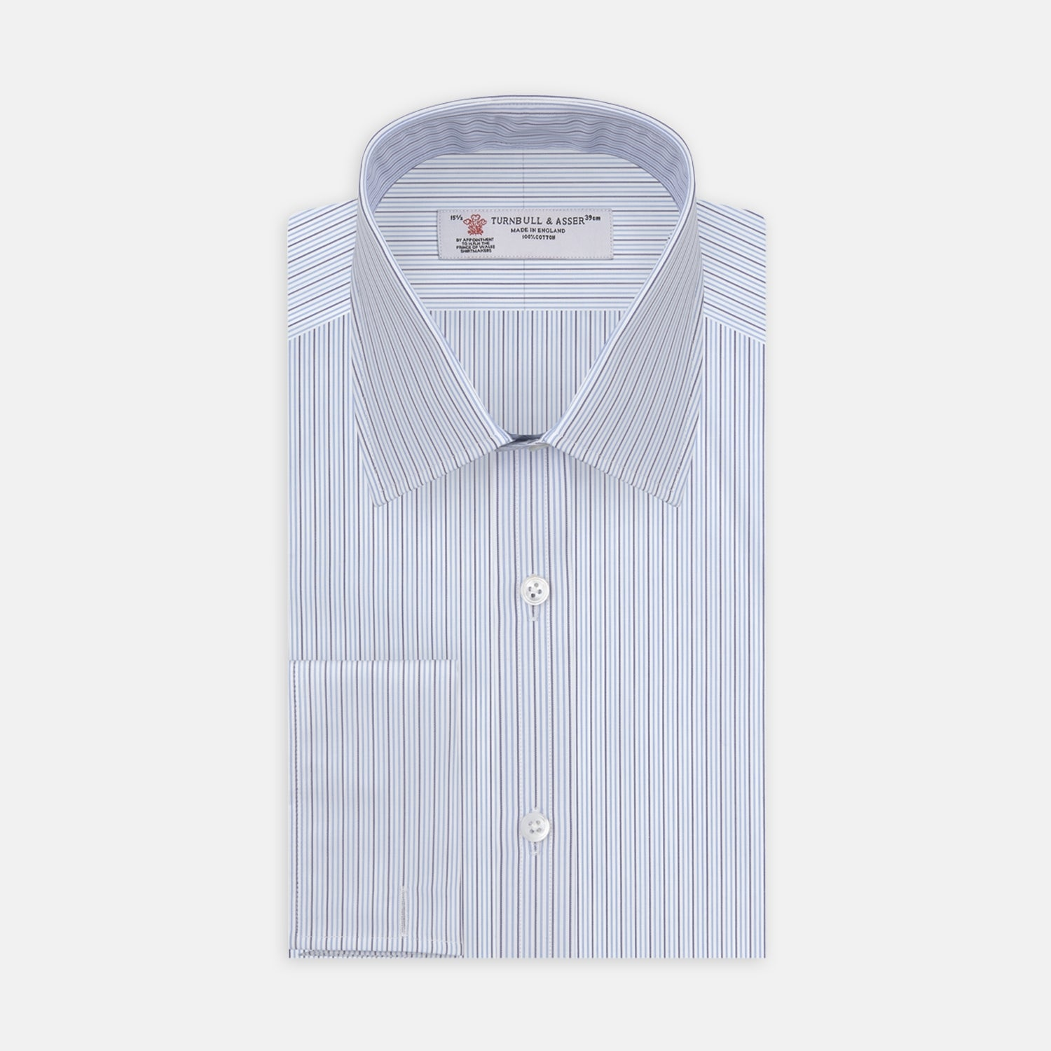 Navy and Light Blue Supraluxe Stripe Shirt with T&A Collar and Double Cuffs