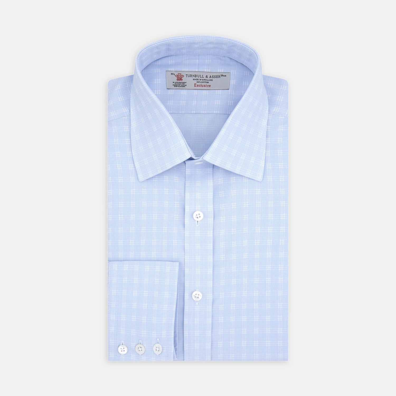 Pale Blue and White 3-Row Check Shirt with T&A Collar and 3-Button Cuffs