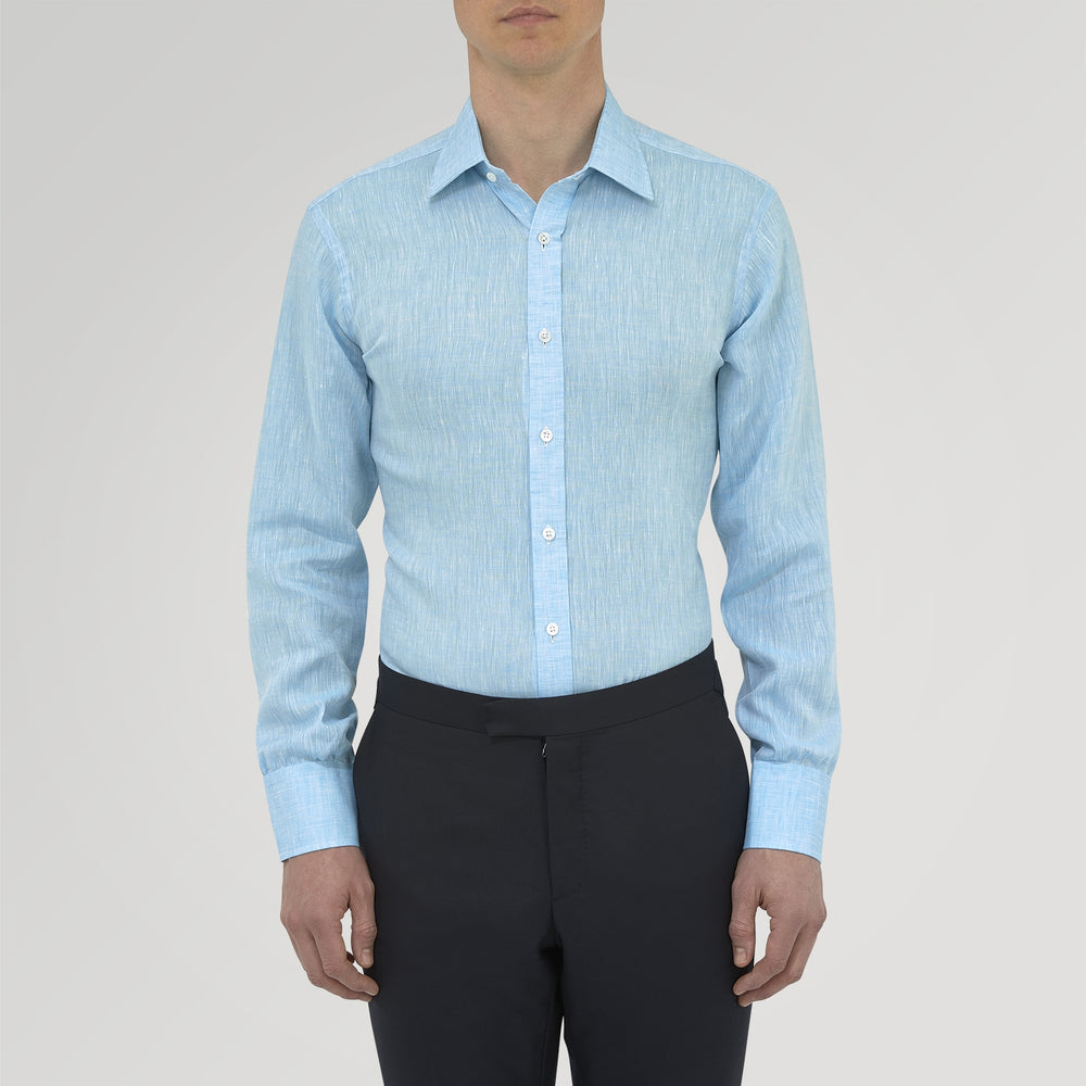 Turquoise Linen Shirt with T&A Collar and 3-Button Cuffs