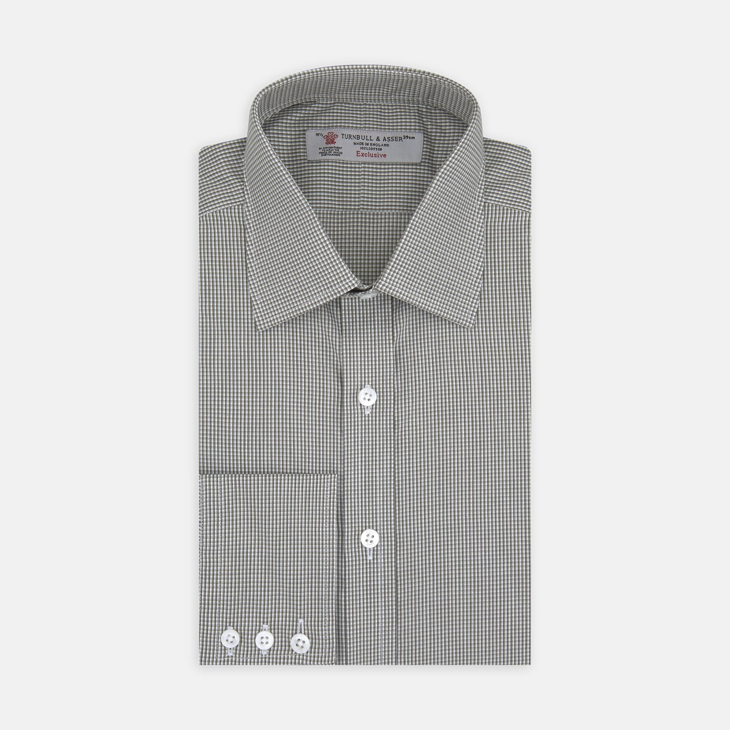 Brown and White Highlight Check Shirt with T&A Collar and 3-Button Cuffs