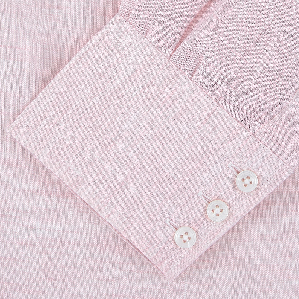 Pink Linen Shirt with T&A Collar and 3-Button Cuffs