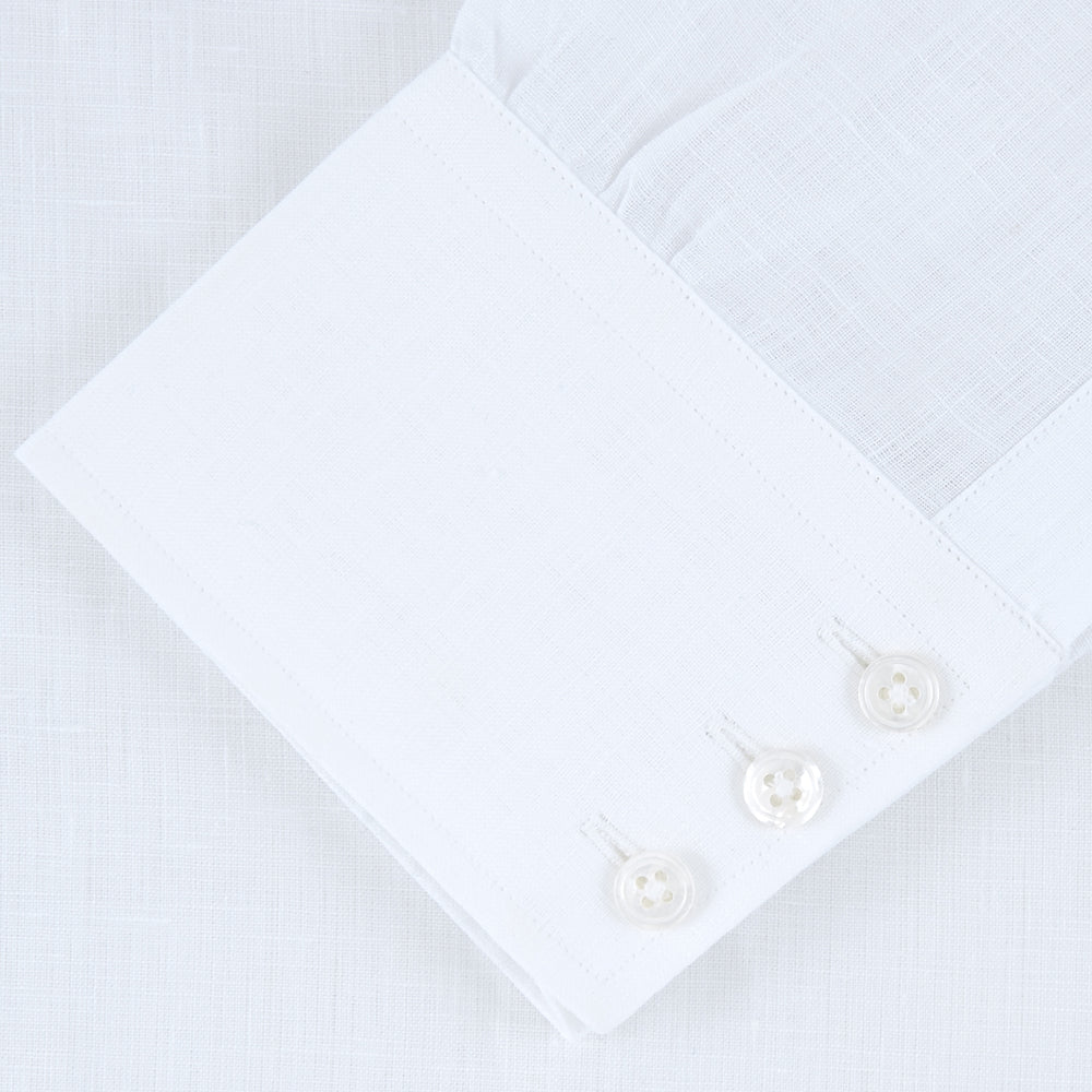 White Linen Shirt with T&A Collar and 3-Button Cuffs