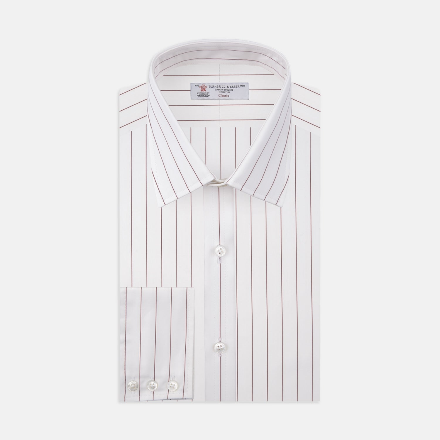 White and Burgundy Fine Stripe Cotton Shirt with T&A Collar and 3-Button Cuffs