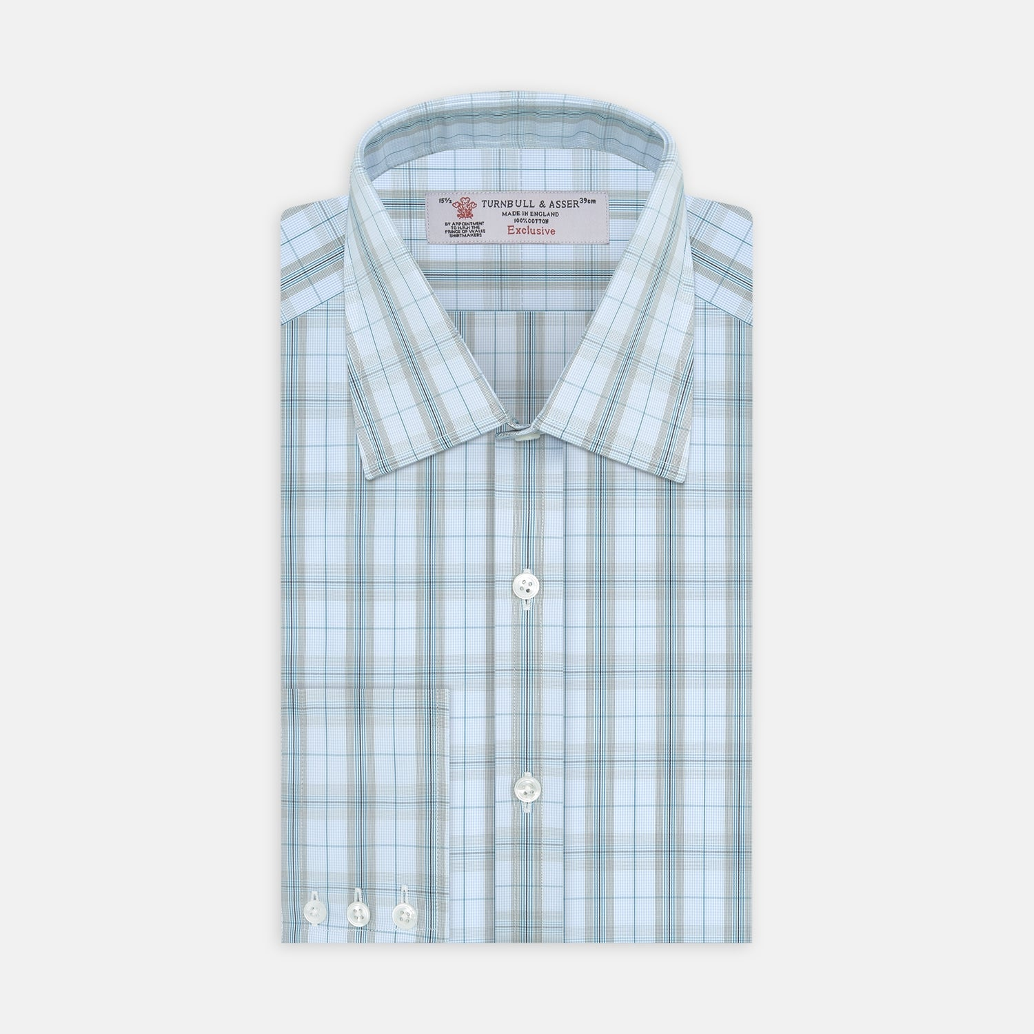 Grey, Turquoise and Sky Blue Mixed Check Shirt with T&A Collar and 3-Button Cuffs