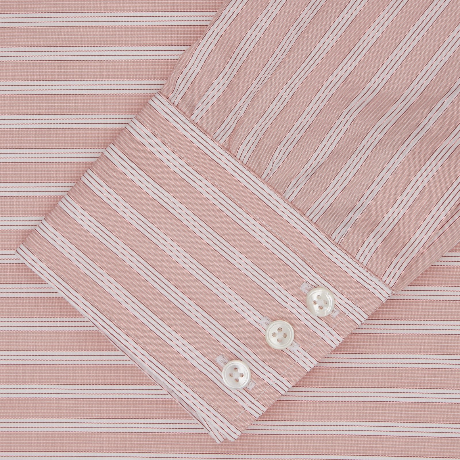 Pink and White Bold Stripe Shirt with T&A Collar and 3-Button Cuffs